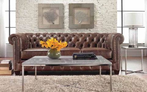 Brown leather button tufted sofa in living room made by Decor-rest
