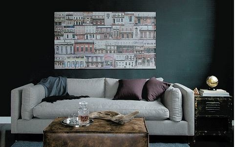 Modern grey sofa with large cushions made by Van Gogh Designs in dark green living room