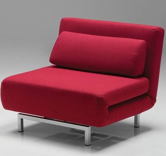 Bold red modern chair made by Mobital with chrome legs
