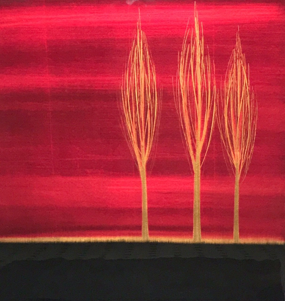 Trio, Red,oil, copper leaf, contemporary painting, original, Brazilian artist Hamilton Aguiar, resin painting, illuminating