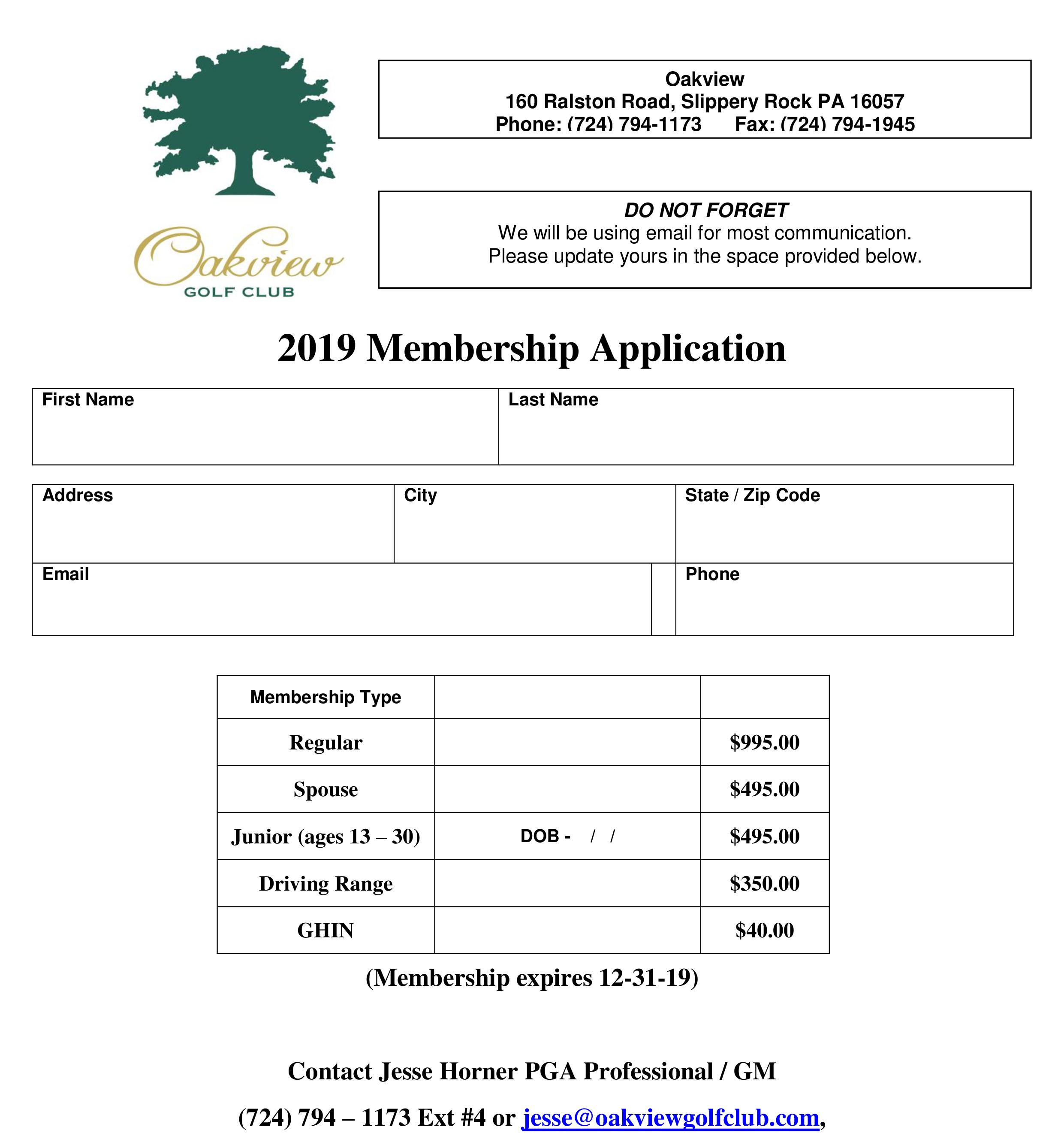 2019 Membership Application