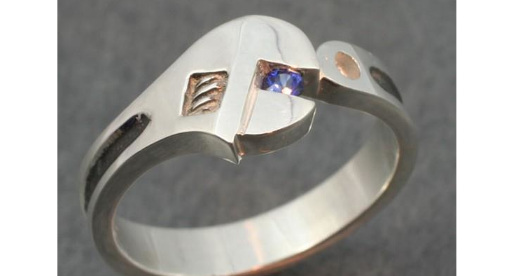 Custom designed wrench ring by Gemstone Creations.