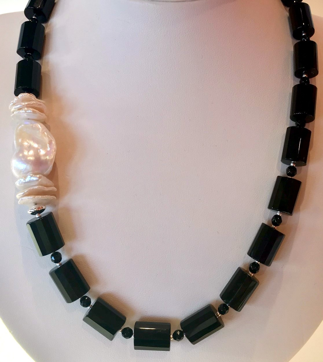 pearl jewelry, freshwater pearls, murano glass jewelry, sea glass jewelry, onyx jewelry, necklace, baroque pearls,keshi pearl
