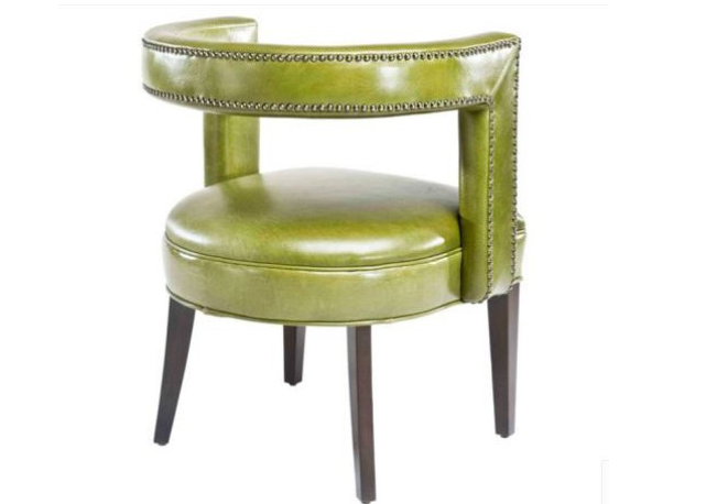 Round bright green dining room chair with nail head trim on seat back, Vogel