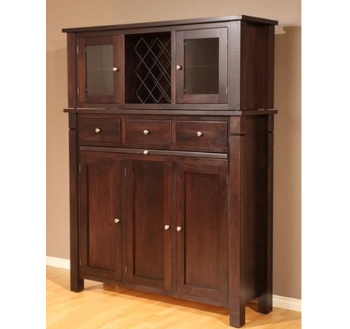 Tall reddish brown wood buffet and hutch with built in wine rack, Sahara Furniture