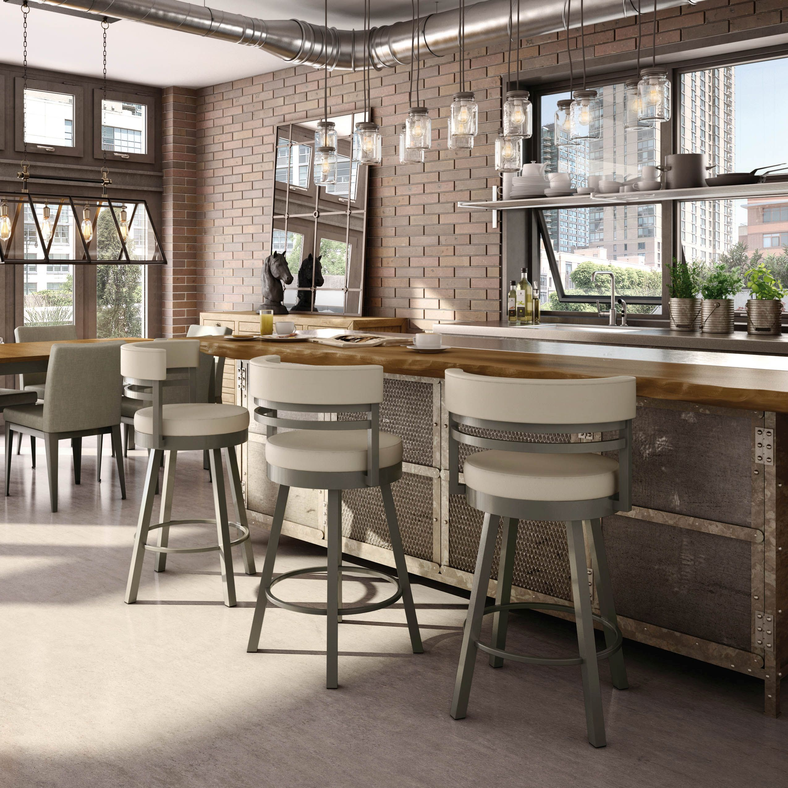 Round upholstered metal bar stools with 4 legs and backrests, Amisco