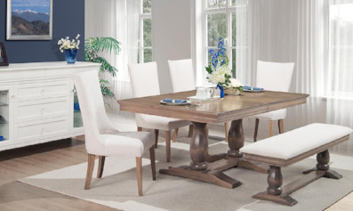 Trestle table with white upholstered bench and 4 high back upholstered chairs, Handstone Furniture