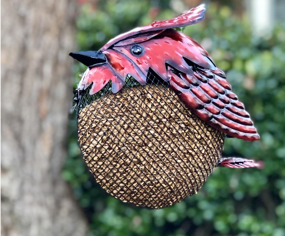 mesh feeder, bird feeding, metal, ornamental, cardinal