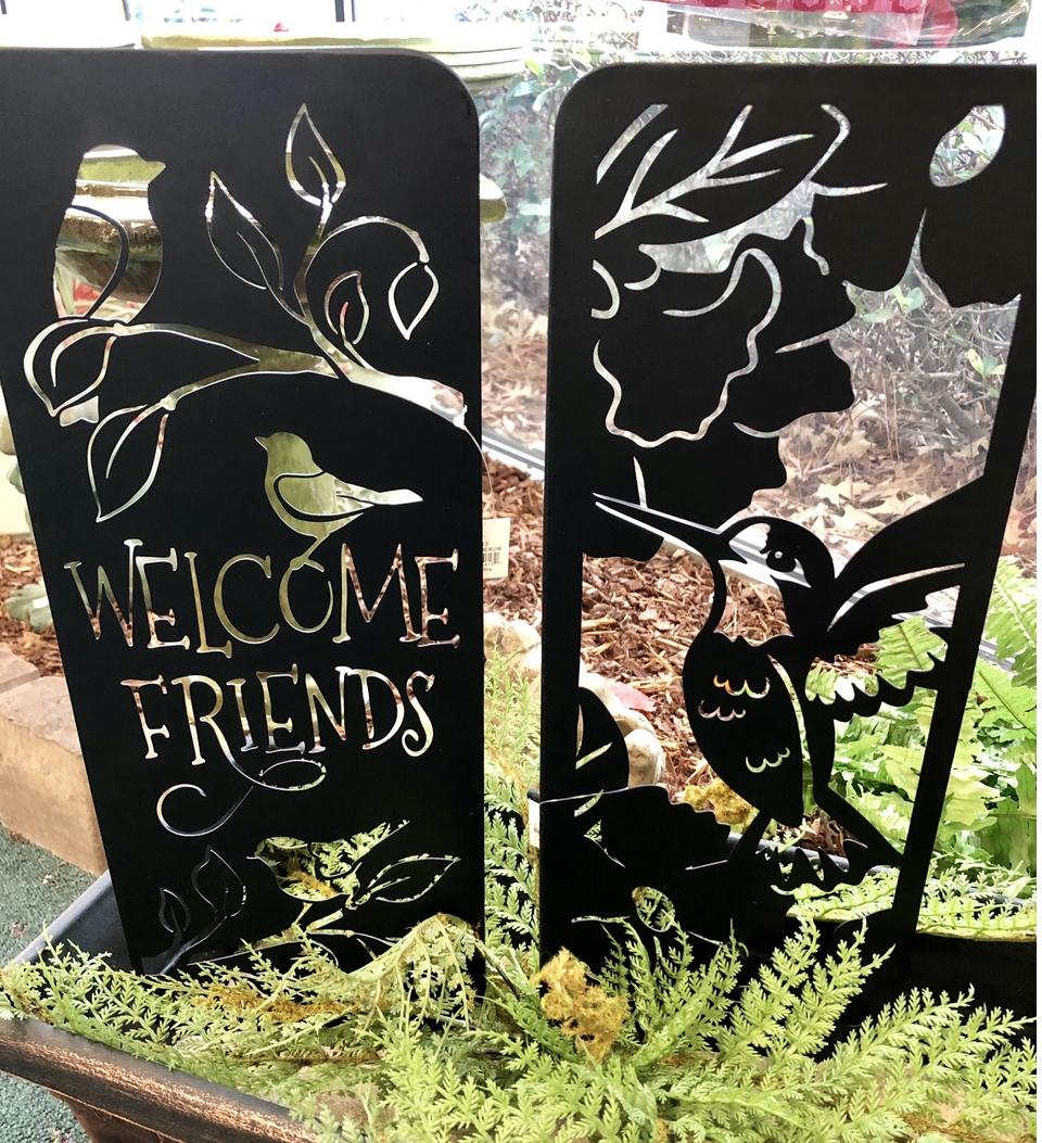 planter stakes, welcome friends, yard art, metal, hummingbird