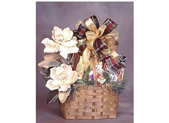 Christmas gift basket filled with delightful treats.