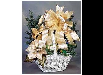 Elegant white holiday gift basket