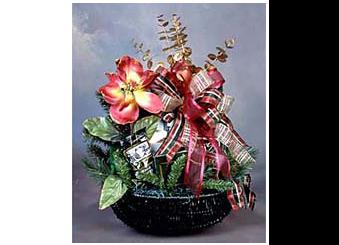 Hunter green holiday gift basket
