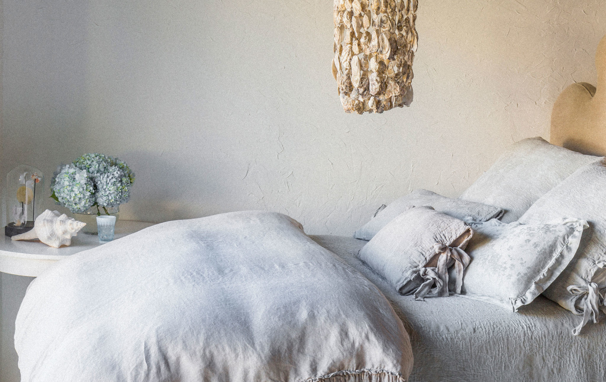Fine linen bedding in natural colors