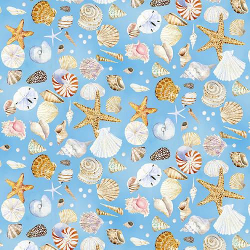all over seashells with blue background - Coastal Paradise