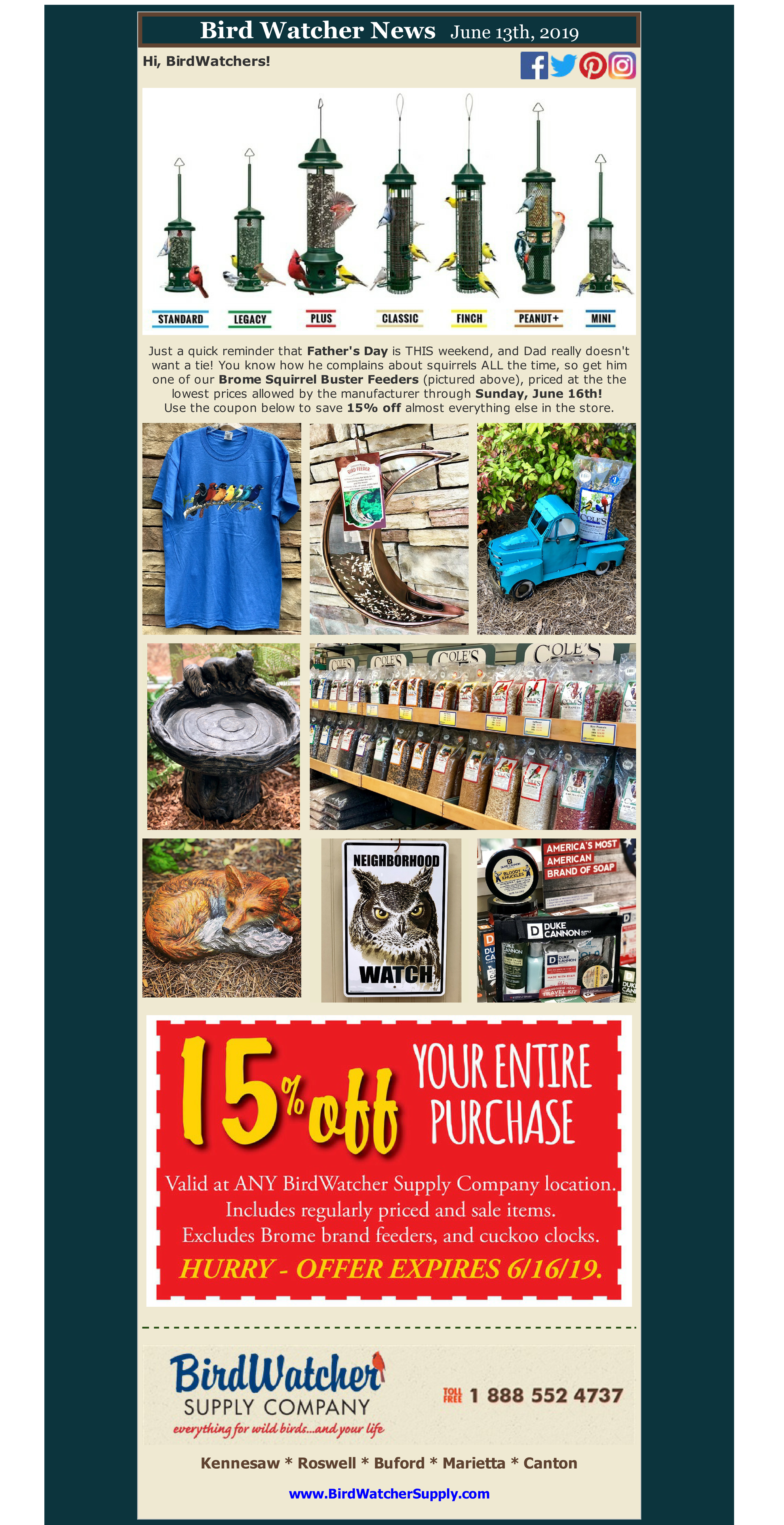 shop local, shop small, fathers day, gifts, coupon, sale, squirrel buster, squirrel proof