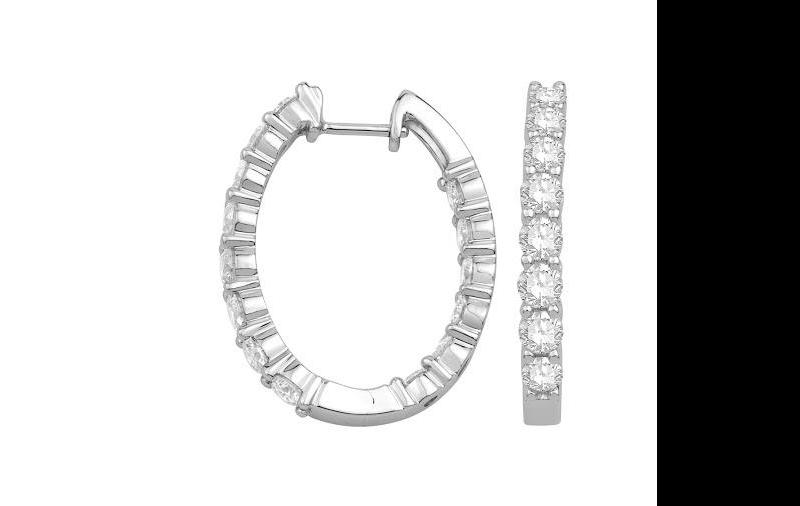 Diamond Oval Inside Out Hoop Earrings in 14 K White Gold