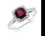 Garnet and Diamond Cushion Shaped Halo Ring