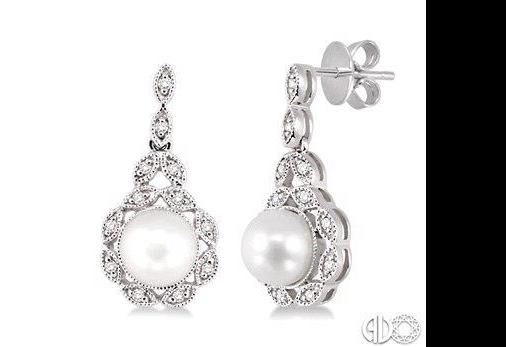 Freshwater Pearl and Diamond Earrings
