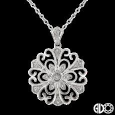 Sterling Silver and Diamond Filigree Medallion Pendant