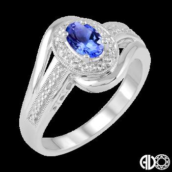 Sterling Silver and Diamond Tanzanite Ring