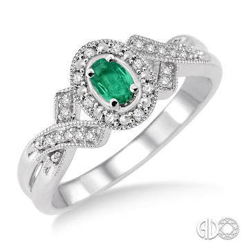 Sterling Silver and Diamond Emerald Ring