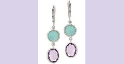 Sterling Silver Amazonite and Amethyst Earrings