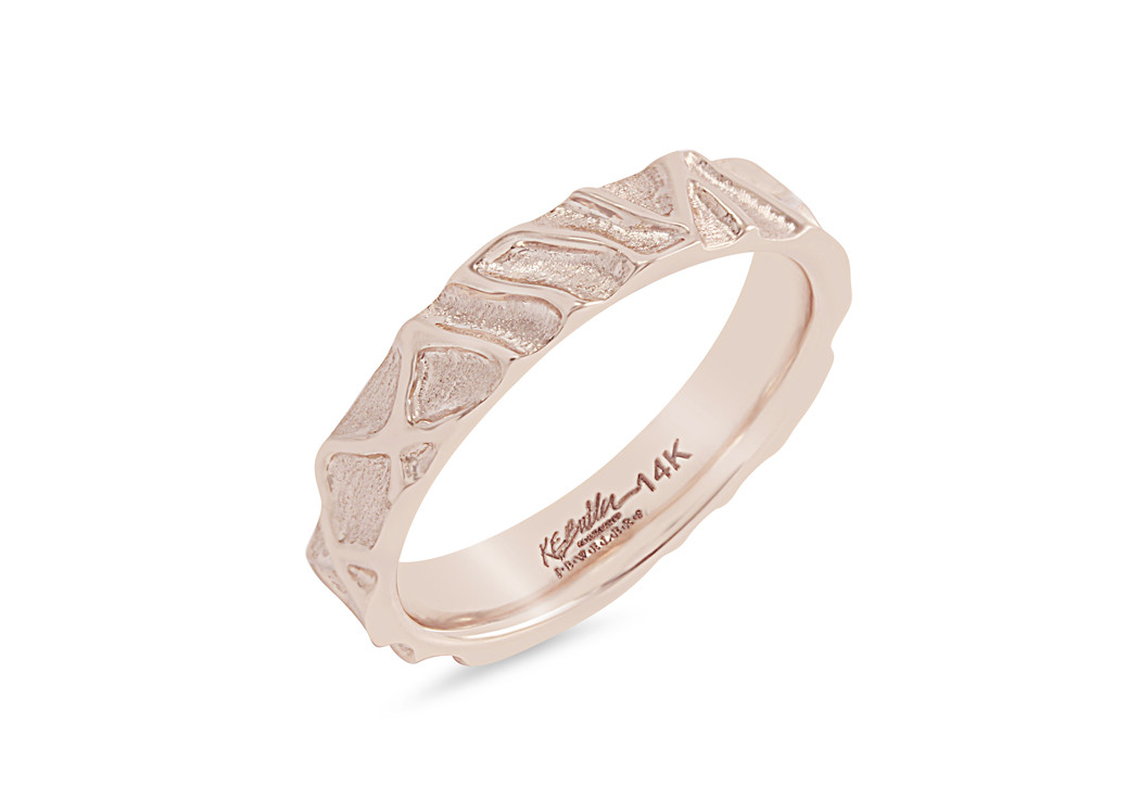 Rose Gold Textured Ladies Band