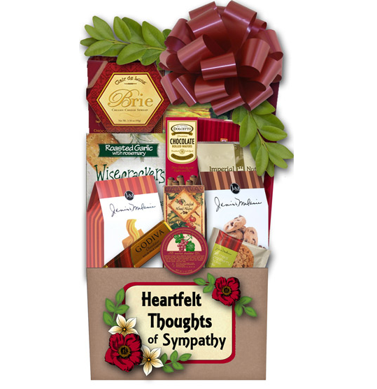 Sympathy Gift Basket filled with gourment treats.
