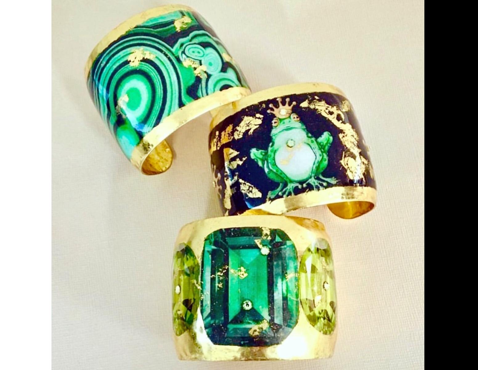art jewelry, 22K gold leaf, fashion jewelry, Evocateur style, art on metal, gold leaf jewelry