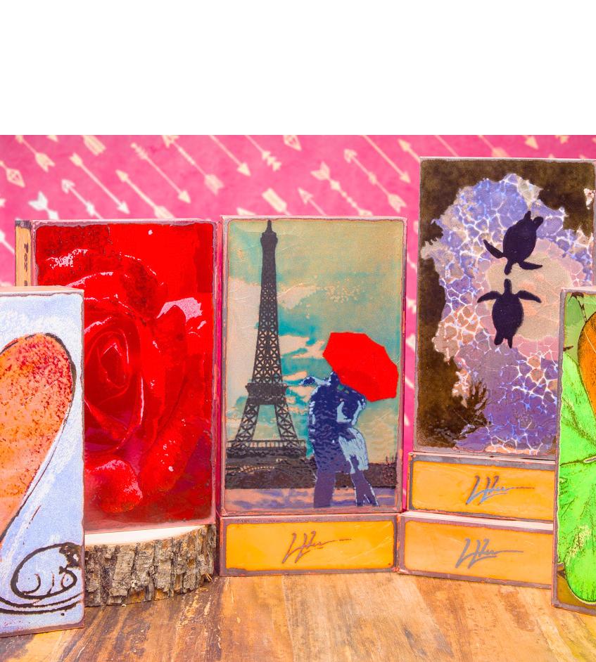 artist Houston Llew, Spiritiles, glass on copper art, famous quotes, storytelling sculpture, glass art, home decor, vitreous