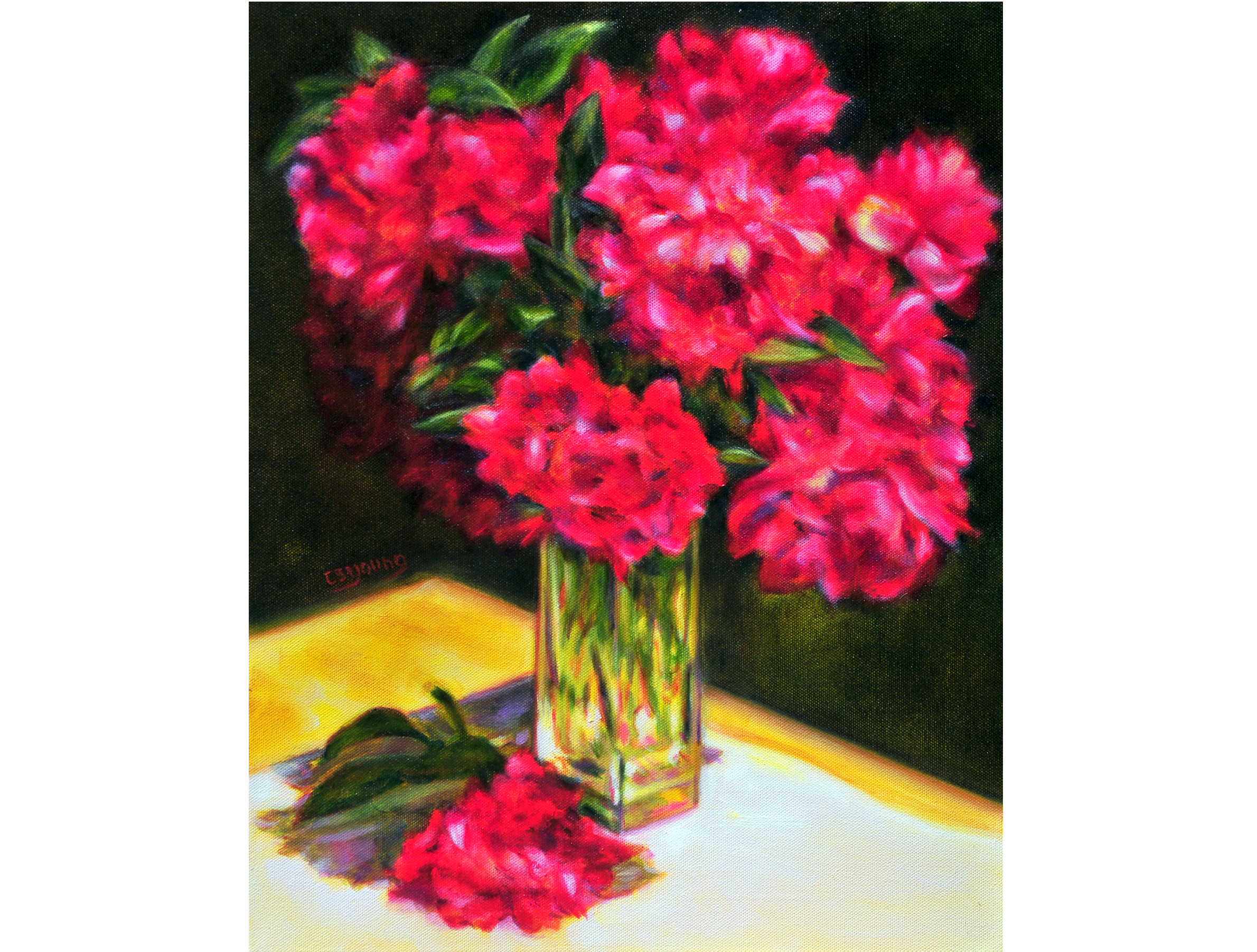 Caroline Young_painter_realism_florals_game boards_representaional art_oils_pastels_NC artist_flowers_landscapes_award winner