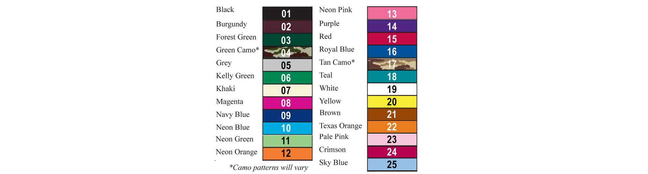 Koozie colors available