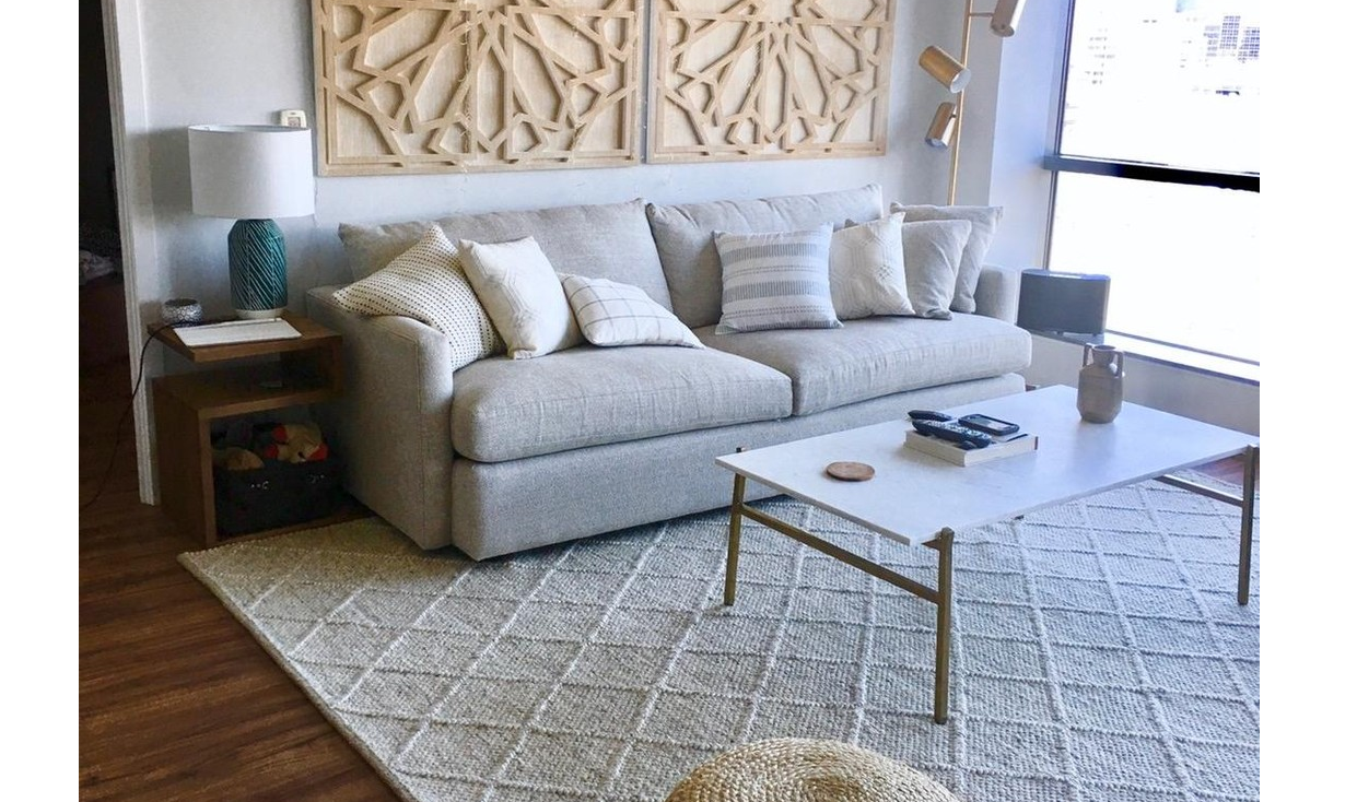 textured natural cream rug surrounded by modern comfy furniture, Surya Rugs