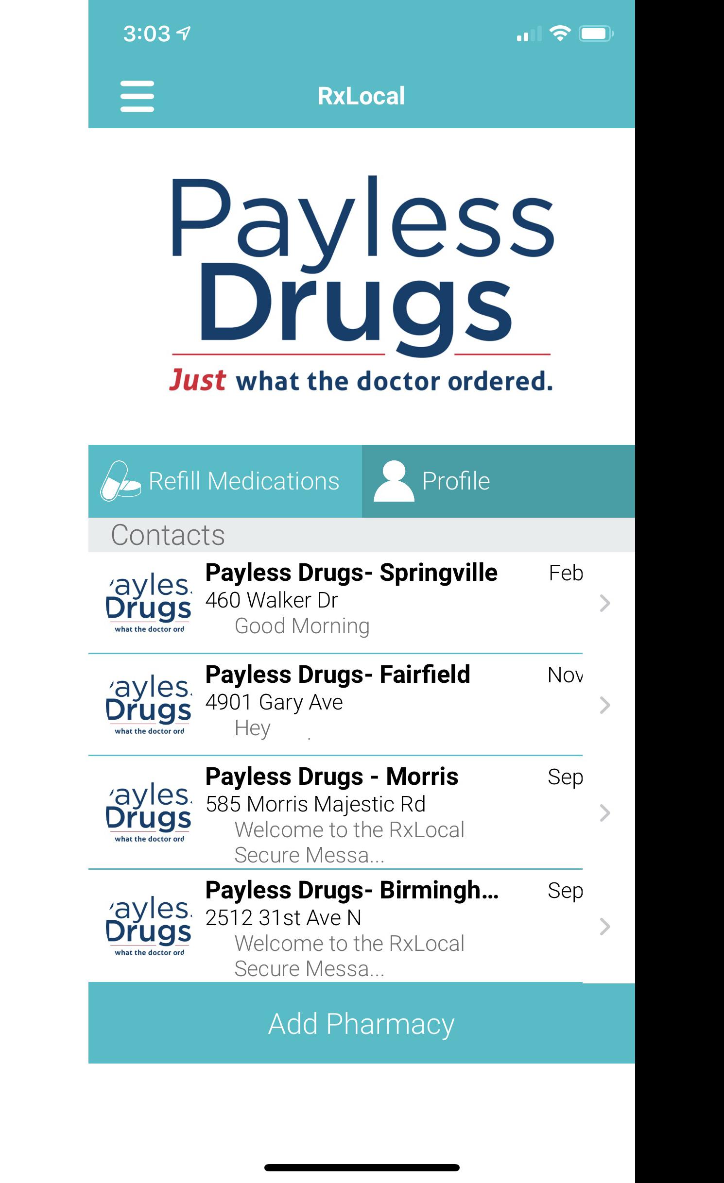 Image screen shot of mobile app