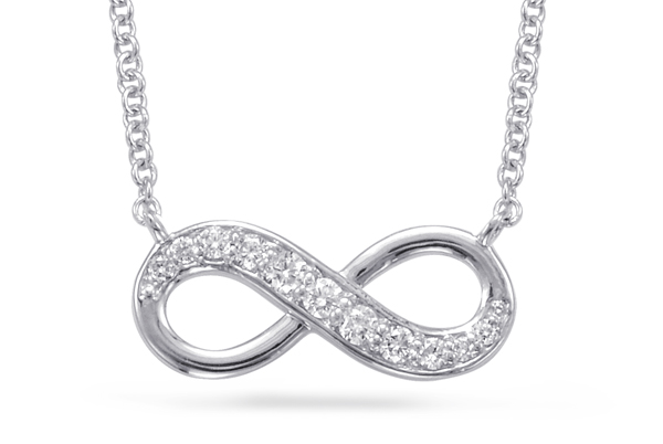 infinity necklace, infinity pendant, diamond infinity necklace, cz necklace, kluh jewelers