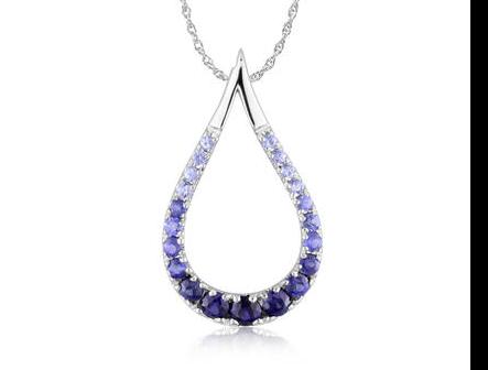 sapphire pendant, blue sapphire pendant, white gold pendant, kluh jewelers