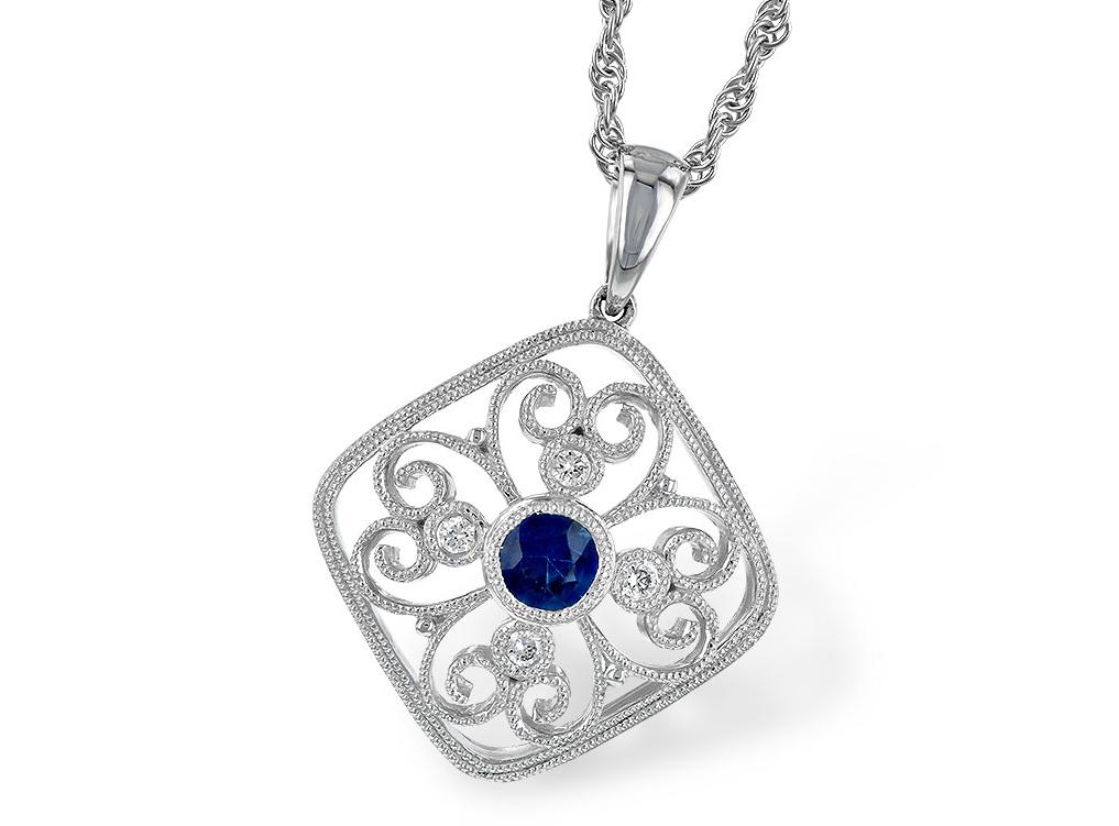 sapphire pendant, sapphire diamond pendant, filigree