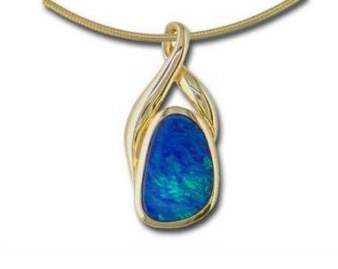 Opal pendant, yellow gold opal pendant, opal doublet pendant, kluh jewelers