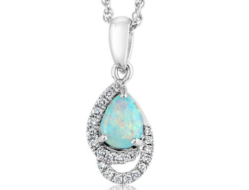 Opal pendant, white gold opal pendant, opal doublet pendant, kluh jewelers