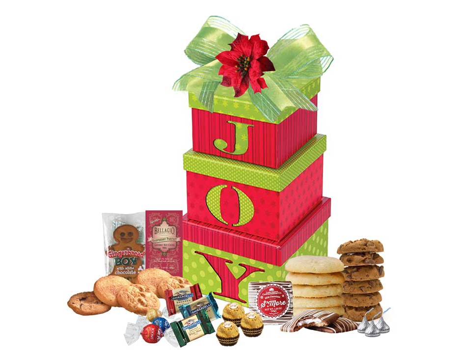 Gift boxes filled with cookies and chocolate