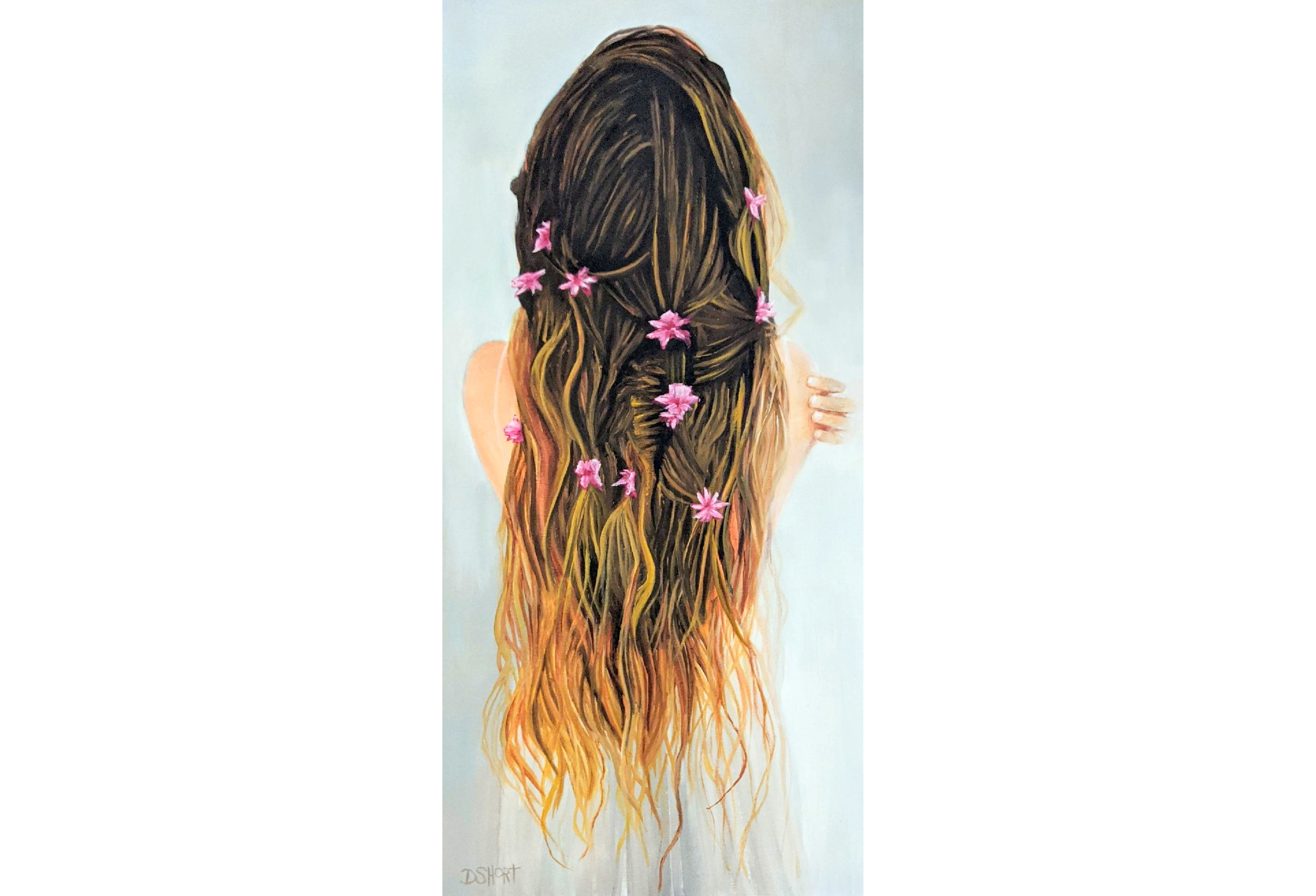 David Short_Be Sure To Wear_ flowers in hair_figurative_Fantastical Florals_Richmond artist