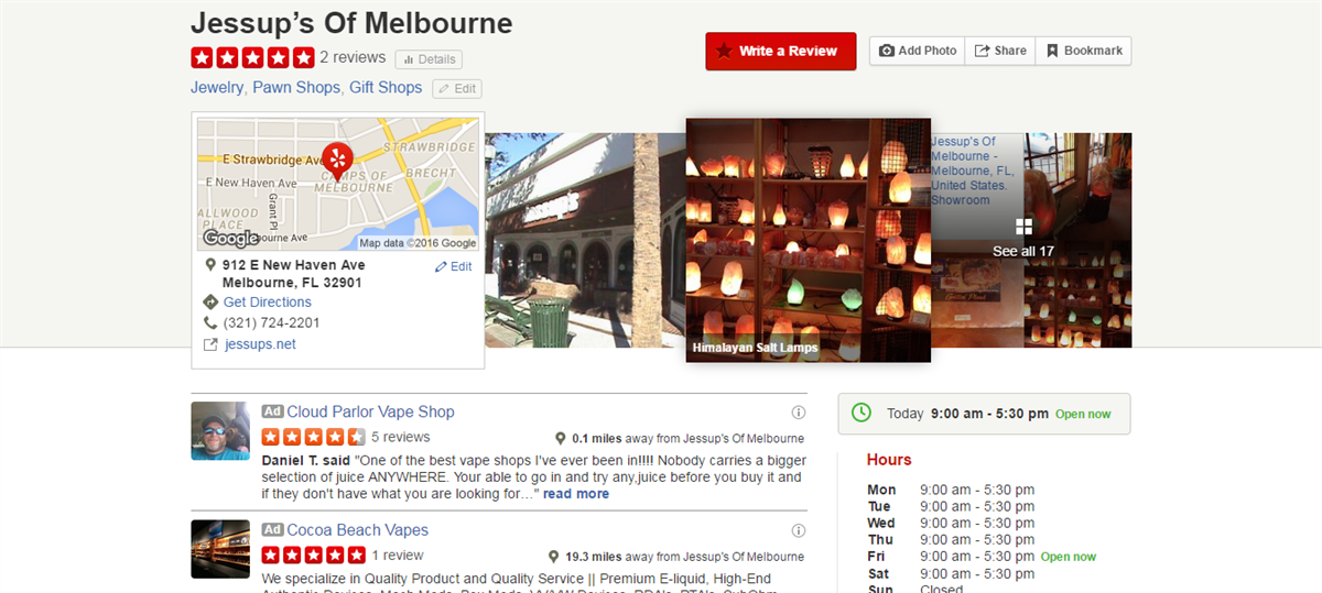 Jessup's of Melbourne Yelp review screenshot Yelp.com Florida pawn shop gifts jewelry
