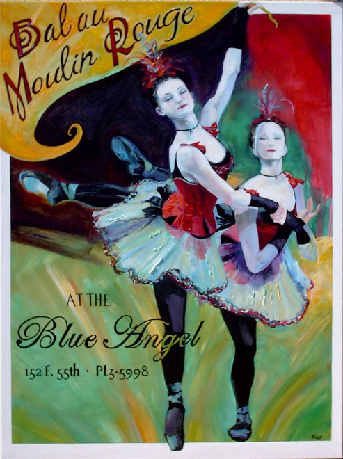 Deborah Delasaux_French painter_art poster_dancing girls_French posters_Moulin Rouge_ballet_Blue Angel_