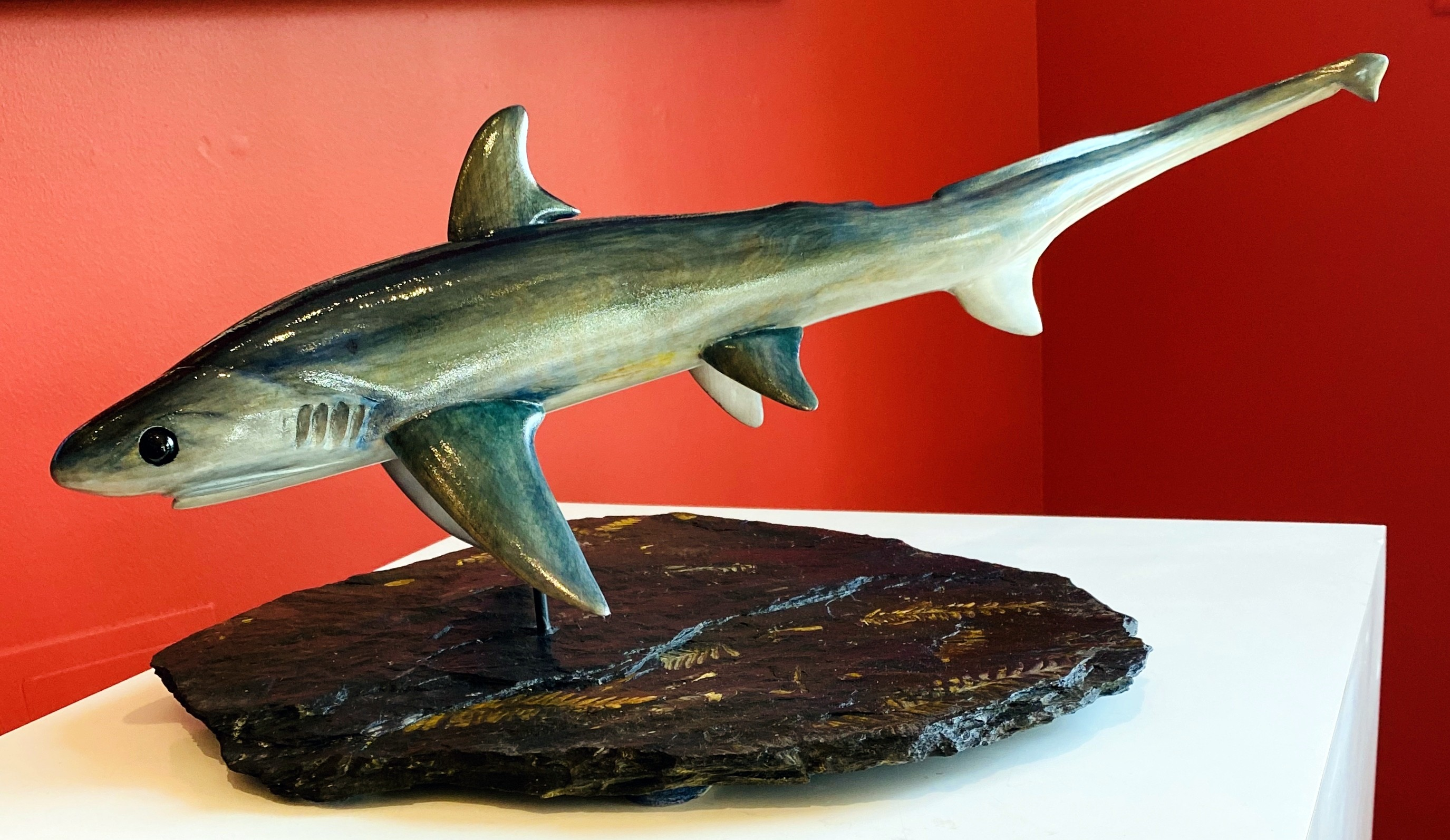 Christopher Compel_ wood carver_Sculptor_ Pa Blue fossil stone_cherry wood_Thresher Shark_underwater_marine life_undersea cr