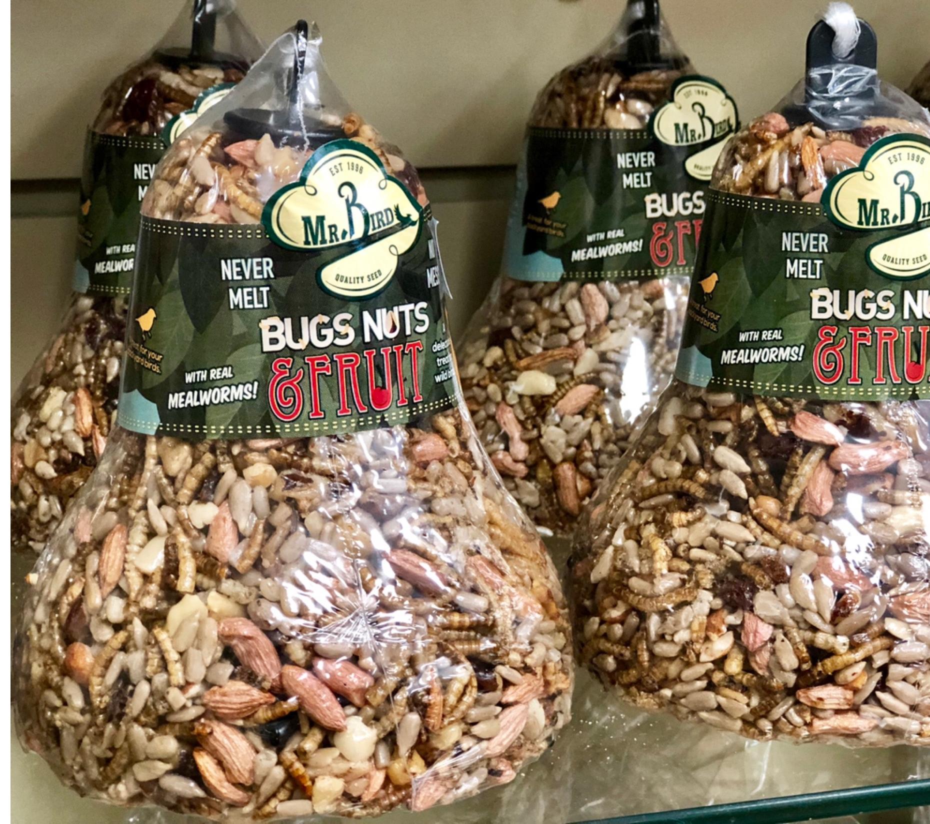 seed bell, bird seed, bird food, bugs, nuts, fruit, mealworms