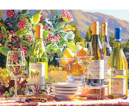 Eric Christensen_wine painter_watercolor artist_Napa valley_wine country_bottled wine_still lifes_American artist_