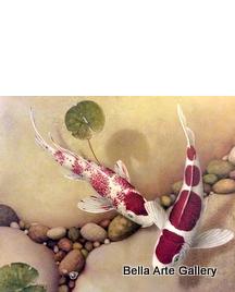 Terry Gilecki_painter of Koi_fish_realism_underwater_fine art_master painter_oil painter_rocks_koi ponds_