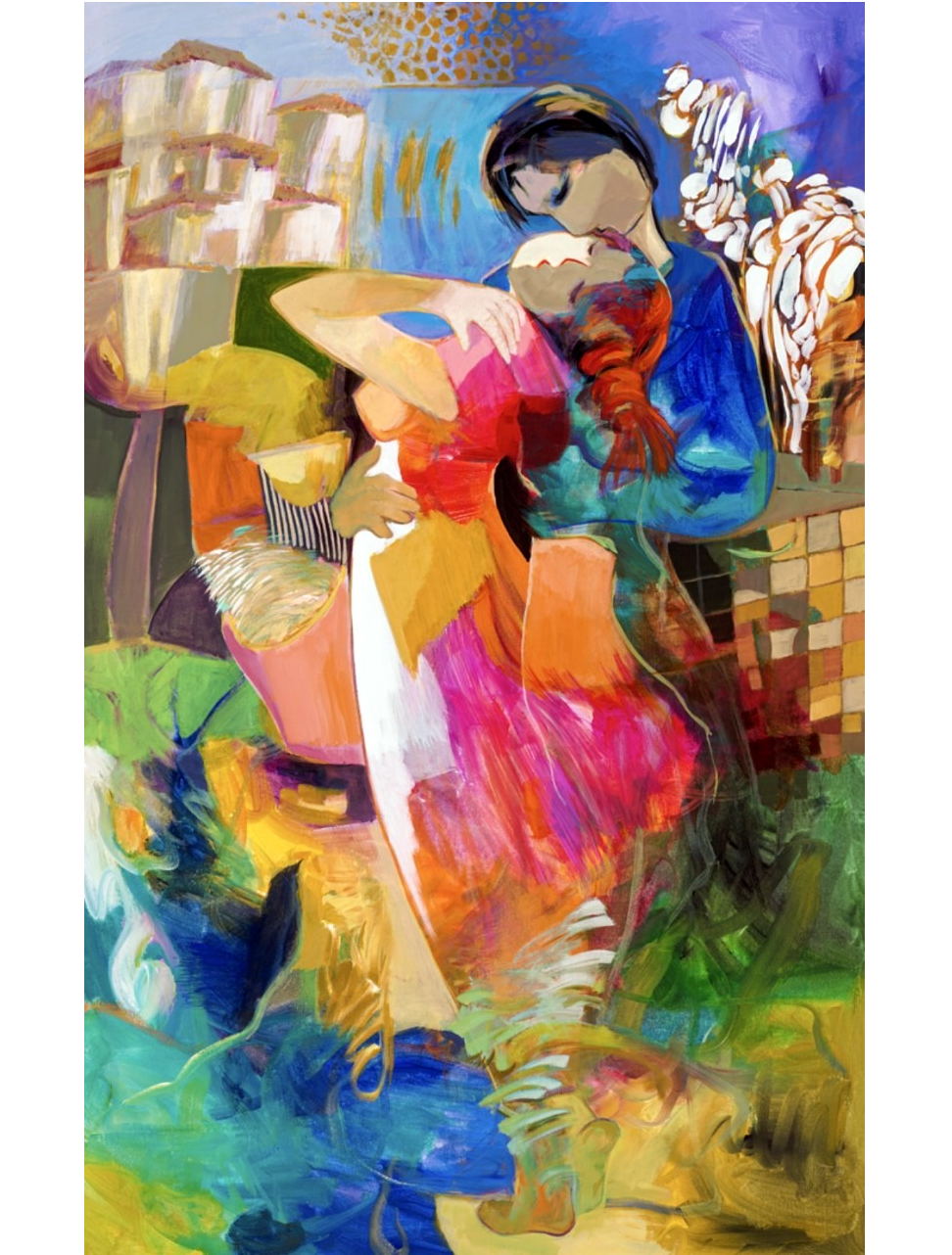 Hessam_Iranian artist_American painter_color block_figurative_abstract art_colorful_man and woman paintings_fine art_oil pain