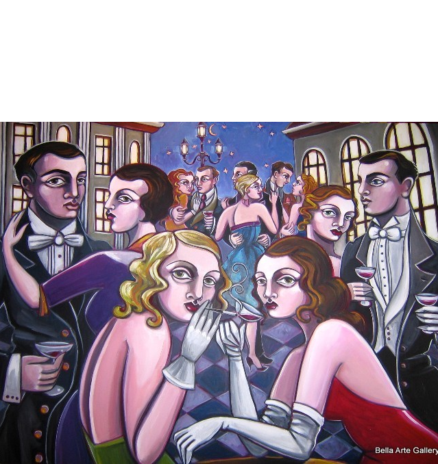 Amy Lynn_art deco_puttin on the Ritz_1930 glam_romance_Night on the Piazza_swinging jazz_party_Disney paintings_American arti
