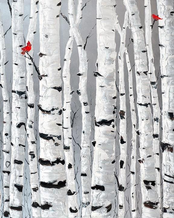 Jennifer Vranes_jens art_aspen trees_birch trees_palette knife_texture paint_thick paint_landscapes_European paintings_metall